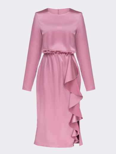 Приталенное платье из атласа с оборкой на юбке розовое 51958, фото 6