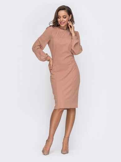 Приталенное платье с фатиновыми рукавами бежевое - 50803, фото 1 – интернет-магазин Dressa