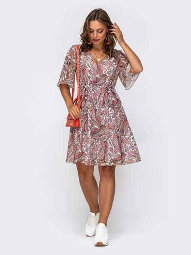 Шифоновое платье с принтом и кулисками по талии оранжевое 50077, фото 1