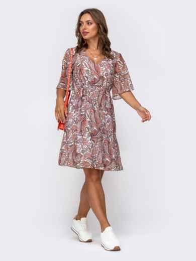 Шифоновое платье с принтом и кулисками по талии оранжевое 50077, фото 2