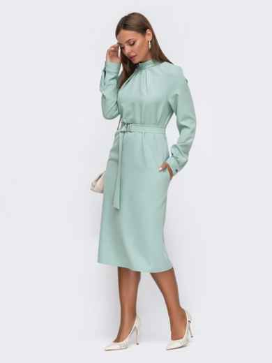 Мятное платье приталенного кроя с воротником-стойкой 50772, фото 2
