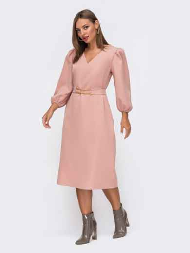 Платье с V-вырезом и рукавом-фонарик пудровое 50769, фото 2