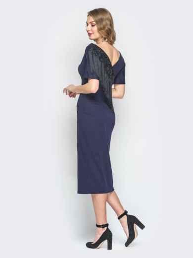 Темно-синее платье с бахромой и ложным запахом по спинке 18687, фото 3