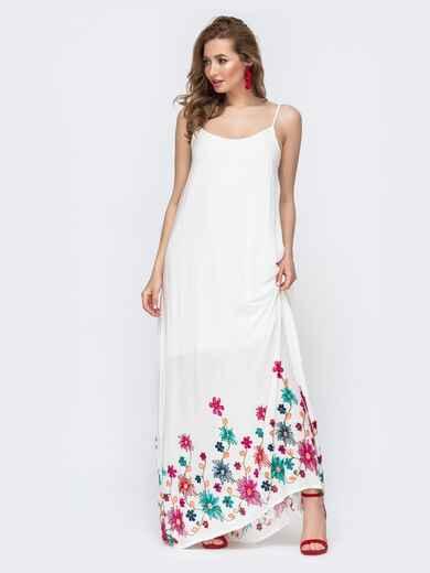 Белый сарафан свободного кроя с цветной вышивкой  46757, фото 1