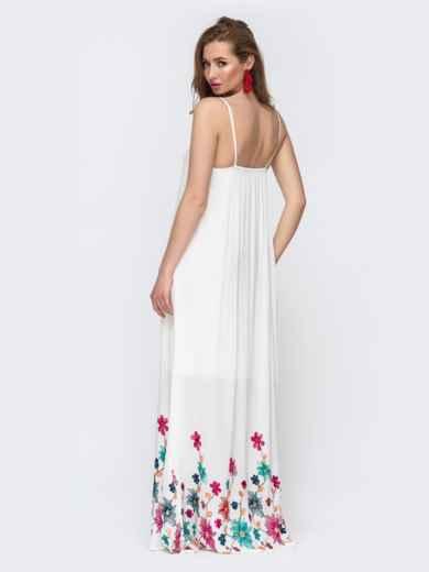 Белый сарафан свободного кроя с цветной вышивкой  46757, фото 2
