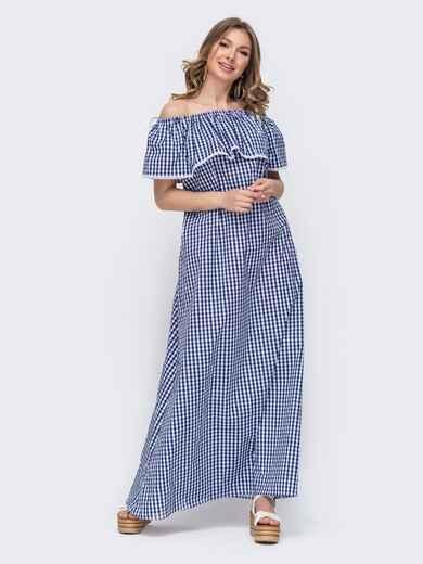 Платье-макси в клетку с открытыми плечами голубое 46746, фото 1