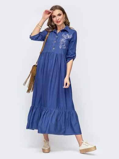 """Платье с вышивкой """"колибри"""" и завышенной талией синее 46729, фото 1"""