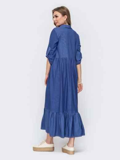 """Платье с вышивкой """"колибри"""" и завышенной талией синее 46729, фото 2"""