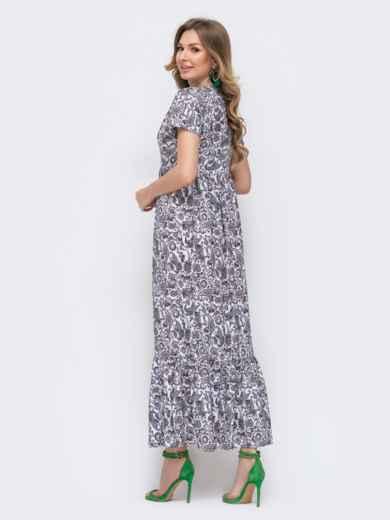 Приталенное платье-макси с цветочным принтом зеленое 46748, фото 2