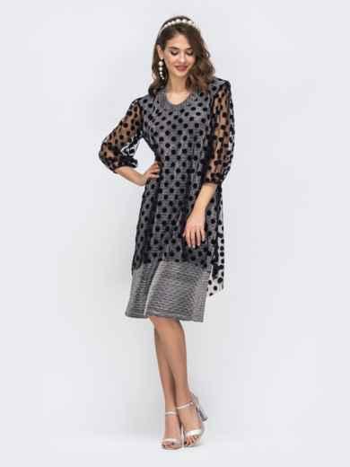 Серое платье из люрекса с фатиновым чехлом в горох 42865, фото 2