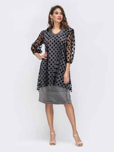 Серое платье из люрекса с фатиновым чехлом в горох 42865, фото 3