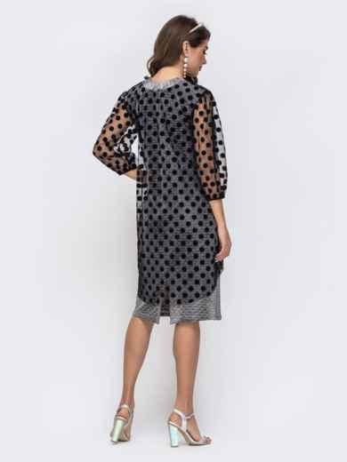 Серое платье из люрекса с фатиновым чехлом в горох 42865, фото 4