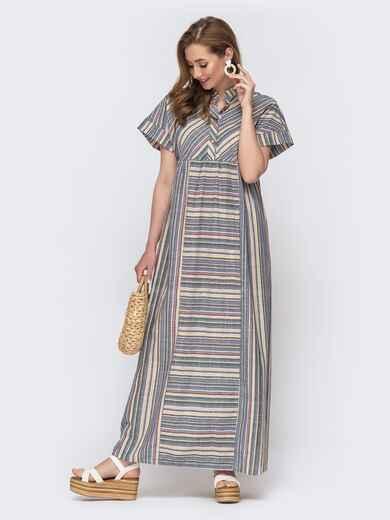 Серое платье-макси в полоску с завышенной талией 46732, фото 1