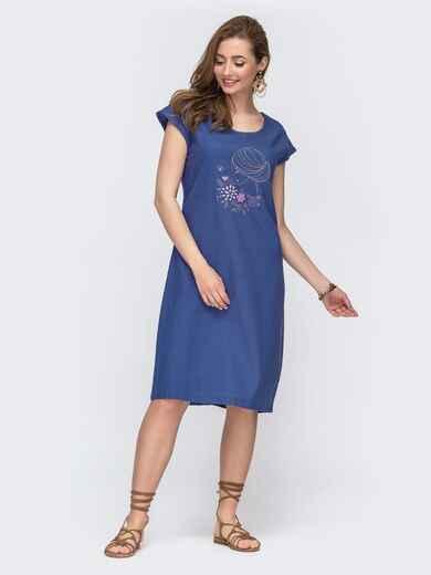 Свободное платье-миди из льна с вышивкой синее 46747, фото 1