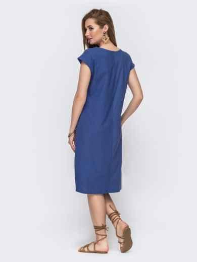 Свободное платье-миди из льна с вышивкой синее 46747, фото 2