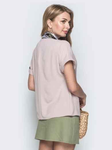 Бежевая блузка из крепа с цельнокроеным рукавом 38413, фото 2
