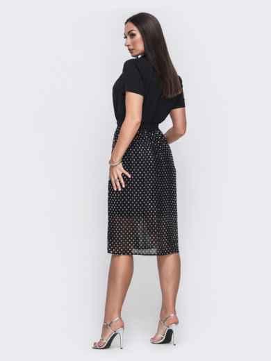 Платье батал с расклешенной юбкой из шифона чёрное 49683, фото 2