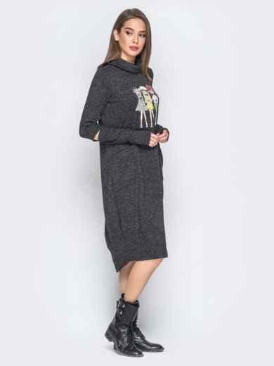 Платье с рукавами-митенками и аппликацией черное 18198, фото 2