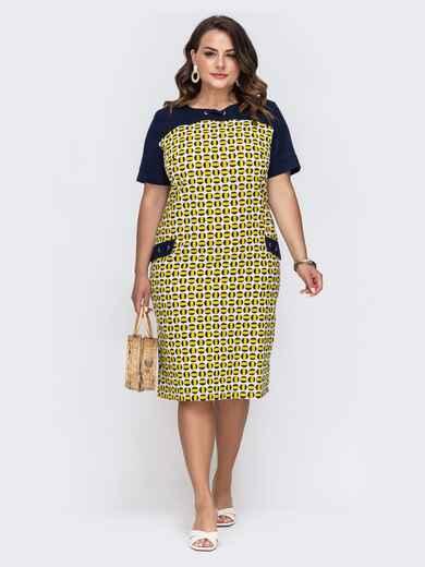Приталенное платье батал с принтом и контрастными рукавами желтое 49685, фото 1