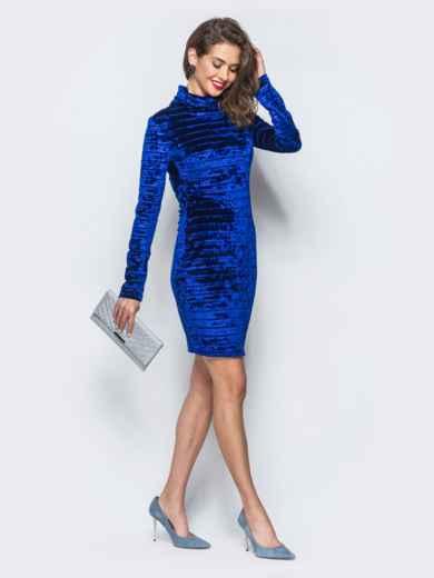 Велюровое платье синего цвета с воротником-хомут 18045, фото 2