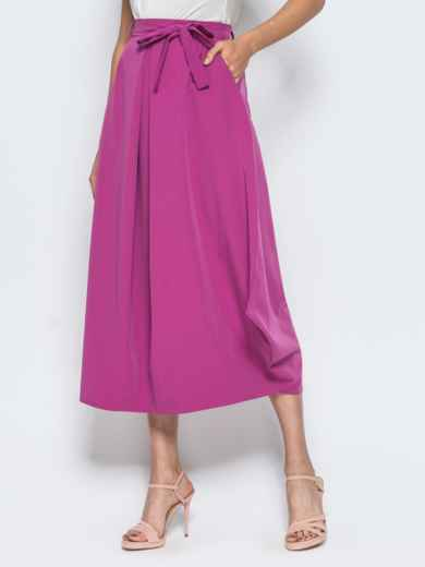 Юбка-миди свободного кроя с карманами в швах розовая 14381, фото 2