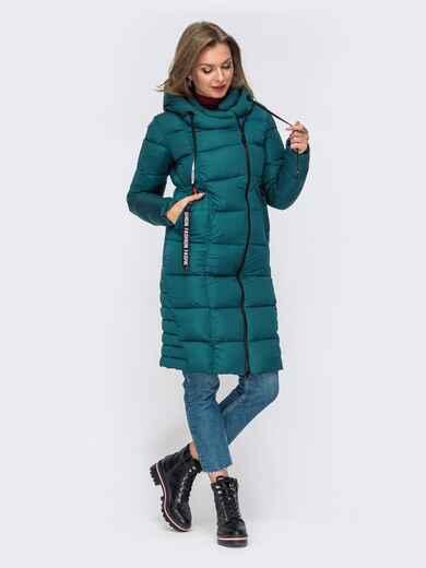 Зимняя куртка с капюшоном зеленая 50667, фото 1