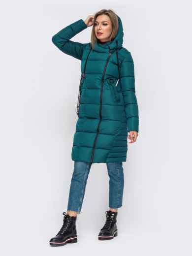 Зимняя куртка с капюшоном зеленая 50667, фото 2