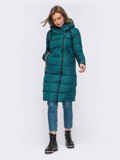 Зимняя куртка с капюшоном зеленая 50667, фото 3