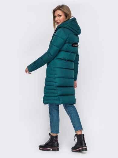 Зимняя куртка с капюшоном зеленая 50667, фото 4