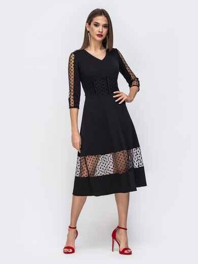 Чёрное платье со вставками из фатина в горох 43071, фото 1