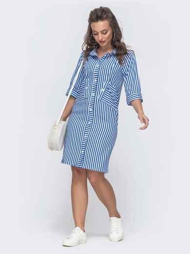 Голубое платье-рубашка в полоску 46725, фото 1
