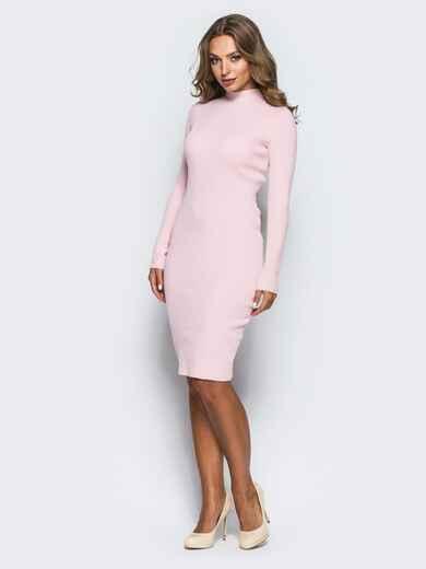 Нежно-розовое трикотажное платье в рубчик с длинными рукавами 15915, фото 1
