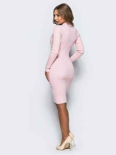 Нежно-розовое трикотажное платье в рубчик с длинными рукавами 15915, фото 2
