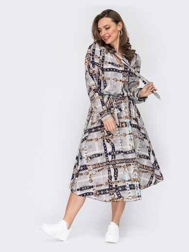 Платье с принтом и юбкой-клеш серое 53147, фото 1