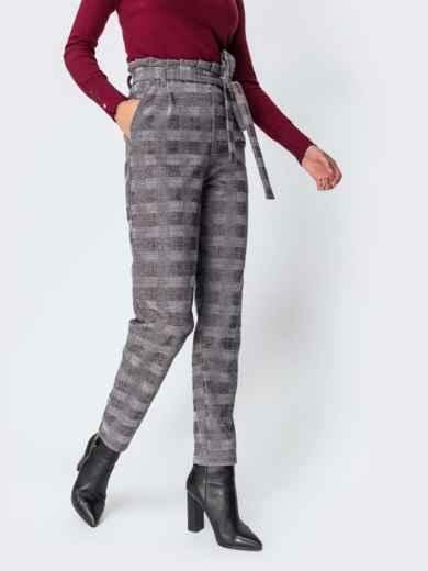 Серые брюки в клетку с завышенной талией 42125, фото 2