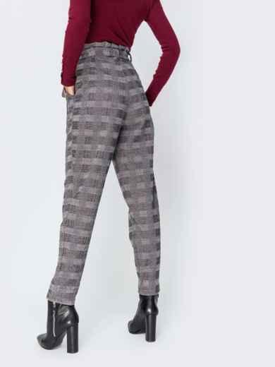 Серые брюки в клетку с завышенной талией 42125, фото 3