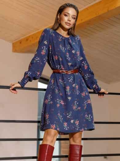 Темно-синее платье-трапеция с цветочным принтом 52658, фото 1