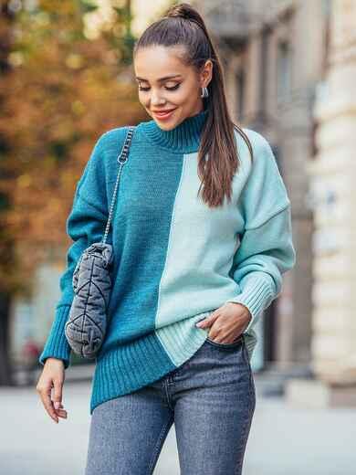 Бирюзовый вязаный свитер с высоким воротником 50711, фото 1