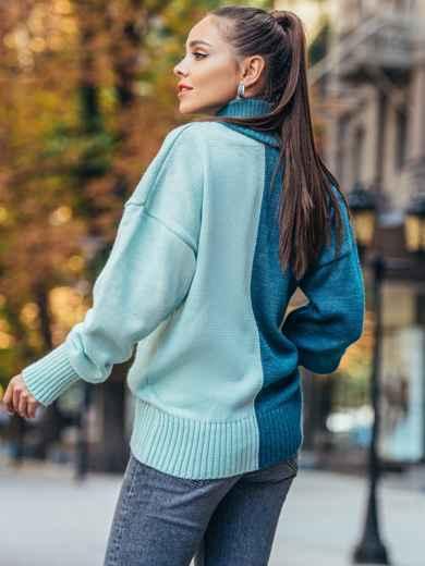 Бирюзовый вязаный свитер с высоким воротником 50711, фото 2