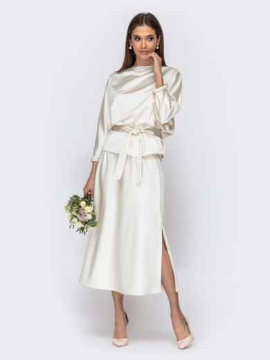 Комплект молочного цвета из блузки и юбки-трапеция 44741, фото 1