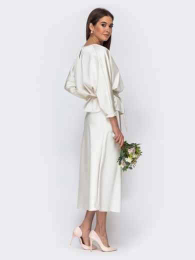 Комплект молочного цвета из блузки и юбки-трапеция 44741, фото 3