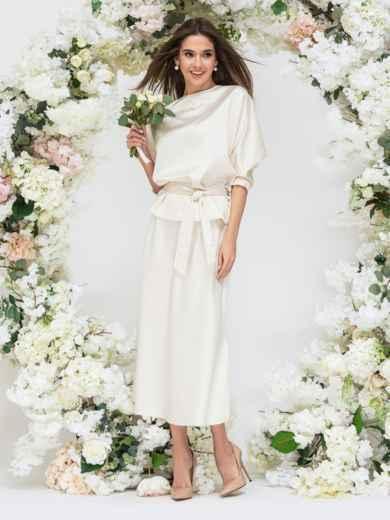 Комплект молочного цвета из блузки и юбки-трапеция 44741, фото 4