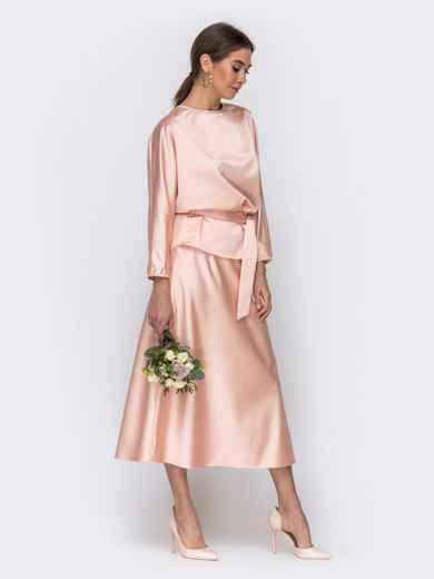 Комплект розового цвета из блузки и юбки-трапеция 44742, фото 3