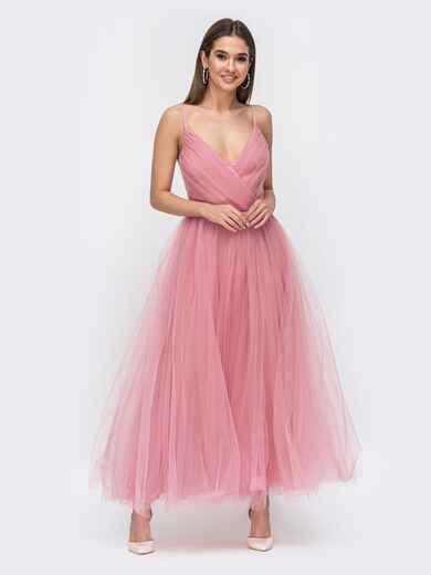 Платье с драпированным лифом и объемной юбкой розовое 44760, фото 1
