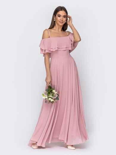 Розовое платье с открытыми плечами и юбкой-солнце 44768, фото 1