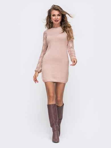 Розовое вязаное платье с ажурным рукавом 50717, фото 1