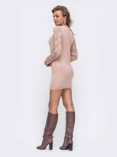 Розовое вязаное платье с ажурным рукавом 50717, фото 2