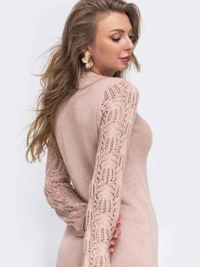 Розовое вязаное платье с ажурным рукавом 50717, фото 3