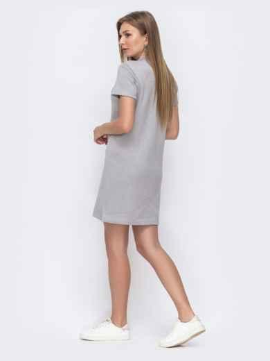 Серое платье-футболка на пуговицах по полочке  49613, фото 2