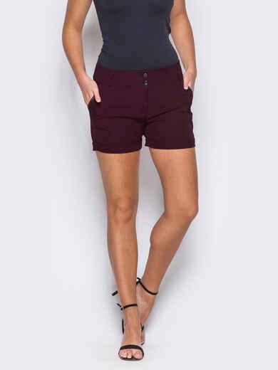 Бордовые шорты на молнии с карманами по бокам - 12121, фото 1 – интернет-магазин Dressa
